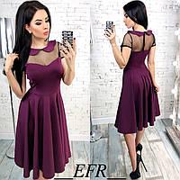 Красивое платье с воротничком вставкой из сеточки и рассклешенной юбкой марсала бордовое S-M L-XL, фото 1