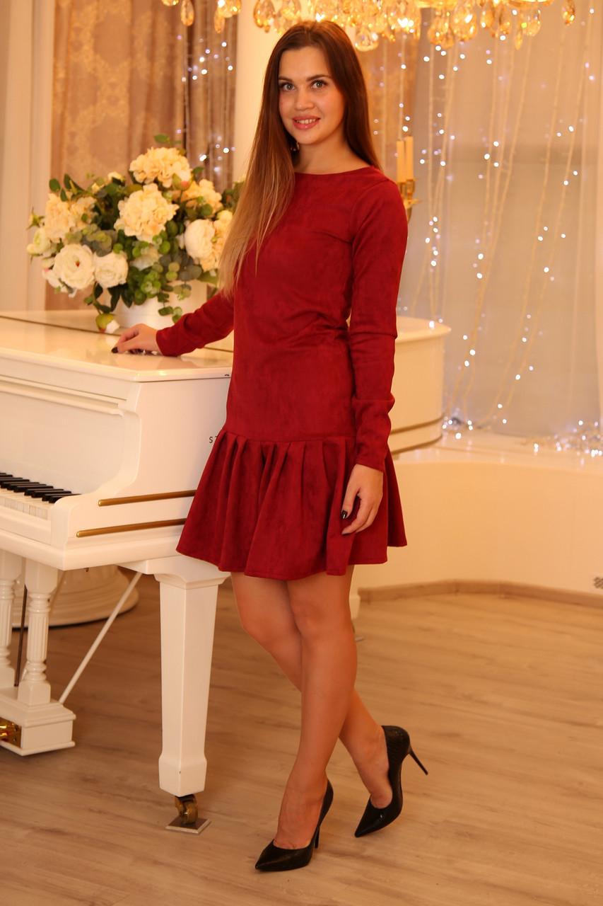 Красное женское платье из замши, платья для мамы и дочки Family look