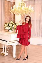 Красное женское платье из замши, платья для мамы и дочки Family look, фото 3