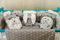 """Комплект постельного белья """"Лесные звери"""" подушки-бортики в детскую кроватку. Белый"""