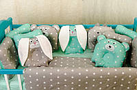 """Комплект постельного белья """"Лесные звери"""" подушки-бортики в детскую кроватку. Мятный"""