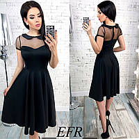 Красивое платье с воротничком вставкой из сеточки и рассклешенной юбкой чёрное S-M L-XL, фото 1