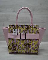Молодіжна жіноча сумка Ремінь жовта змія з рожевим гладким, фото 1