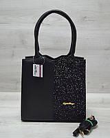 3d1d0035cbfd Классическая женская сумка Треугольник черного цвета с черными блестками