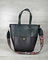 Молодіжна жіноча сумка Мілана з Яскравим ременем чорна з зеленим, фото 1