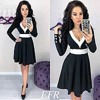 Утонченное платье с красивым декольте и рассклешенной юбкой чёрное S-M L-XL, фото 1