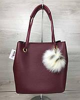 2в1 Молодежная женская сумка Пушок бордового цвета