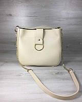 Молодіжна жіноча сумка Єва бежевого кольору