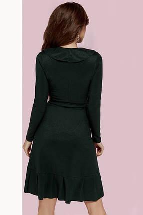 Темно-зеленое платье с запахом, фото 2