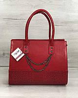 Каркасна жіноча сумка Селін з ланцюжком червоного кольору, фото 1