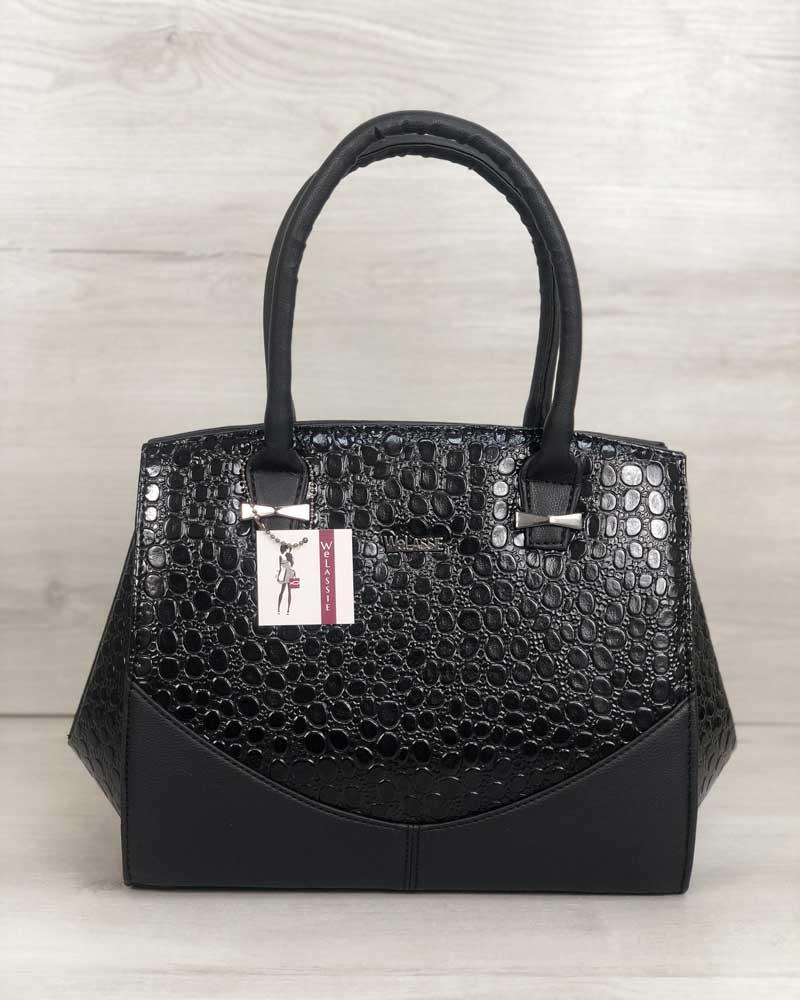 Каркасна жіноча сумка Віржіні чорного кольору зі вставками чорний лаковий крокодил