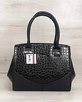 Каркасна жіноча сумка Віржіні чорного кольору зі вставками чорний лаковий крокодил, фото 1