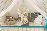 """Комплект постельного белья """"Минки плюш"""" в детскую кроватку с балдахином. Бело-серый"""