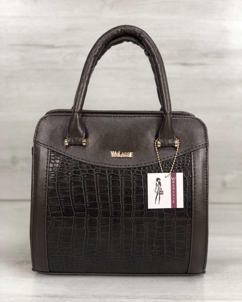 Каркасна жіноча сумка Еббі коричневого кольору зі вставками коричневий крокодил