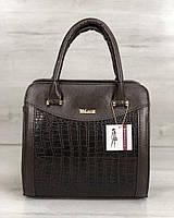 Каркасна жіноча сумка Еббі коричневого кольору зі вставками коричневий крокодил, фото 1