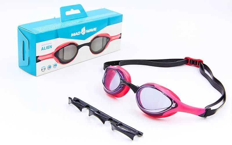 Очки для плавания MadWave ALIEN розово-черные M042727