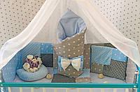 """Комплект постельного белья """"Минки плюш"""" в детскую кроватку с балдахином. Серо-голубой"""