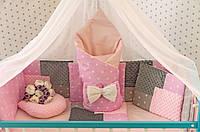 """Комплект постельного белья """"Минки плюш"""" в детскую кроватку с балдахином. Серо-розовый"""