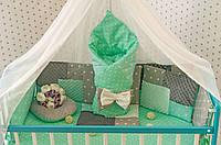 """Комплект постельного белья """"Минки плюш"""" в детскую кроватку с балдахином. Серо-мятный"""