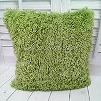 Чехол для подушки травка 50х50 см. | Декоративная пушистая наволочка для спальни, гостиной