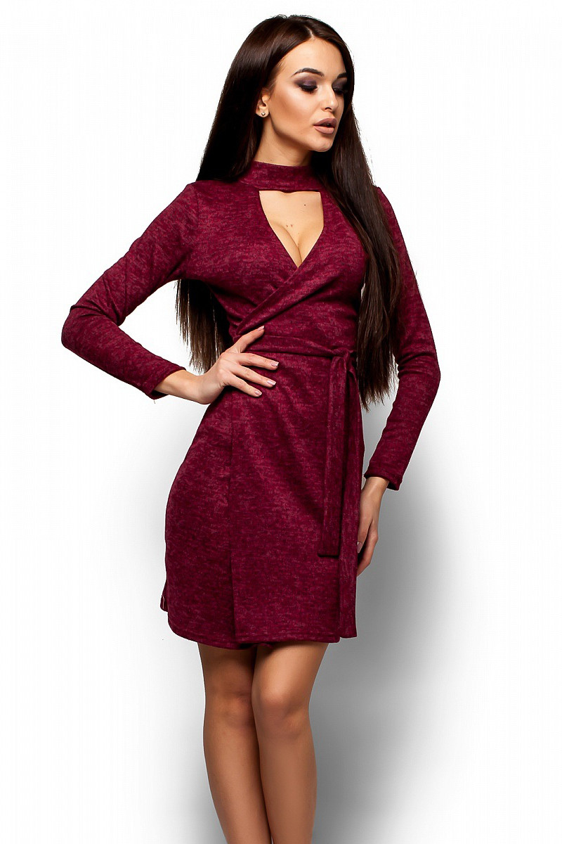 (S-M, M-L) Стильне вечірнє марсалове плаття Kary
