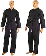 Кимоно для карате черное, айкидо Matsa MA-0017