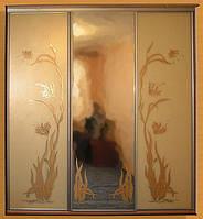 Встроенный шкаф-купе с рисунком на стекле