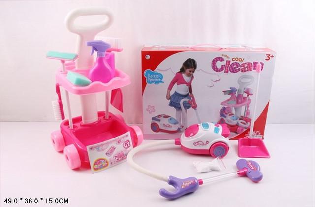 Игровой набор уборка игрушечный пылесос, всасывает, светится, тележка