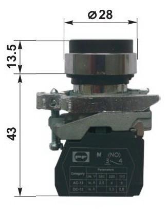 Выключатель ВК 011-НЦВ3, зеленый, выступающий нажимной толкатель, 1NO, IP672