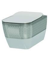 Чаша подвесного унитаза Idevit Halley 3204-2616-1201 белый/декор серебро