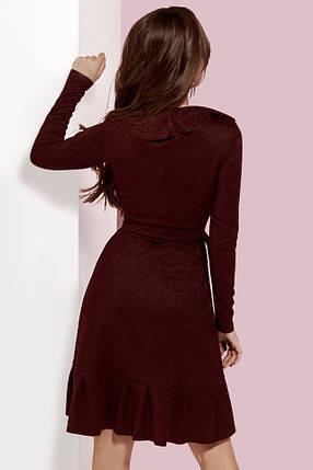 Бордовое платье на запах с рюшами, фото 2