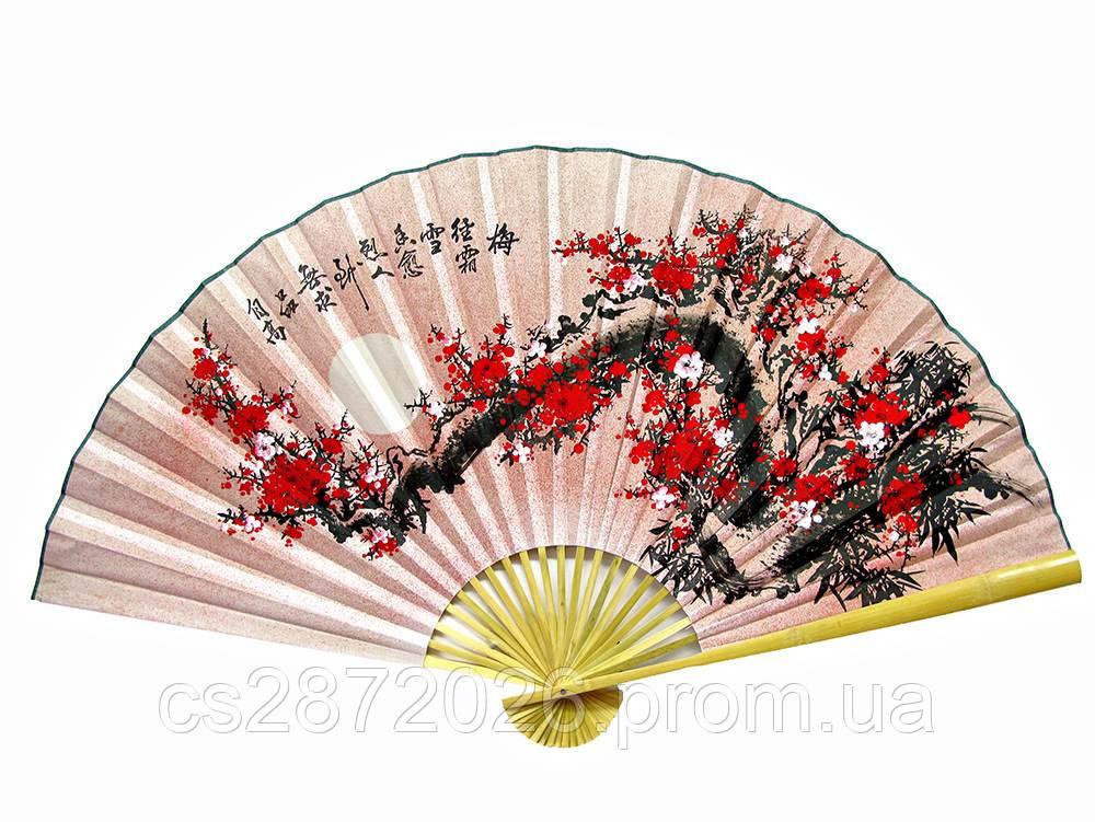 """Веер настенный """"Сакура на розовом фоне с иероглифами"""""""