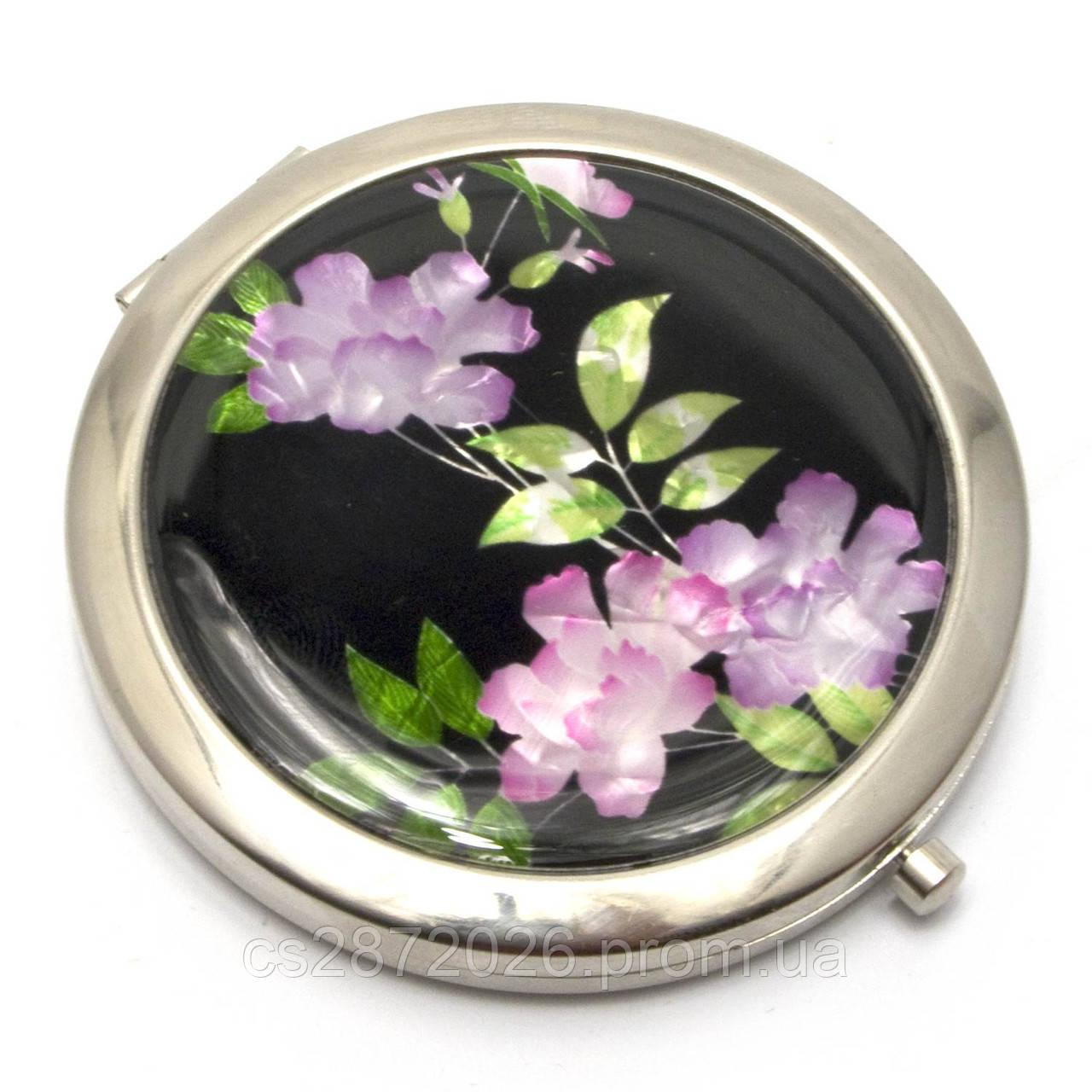 Зеркало карманное косметическое Цветы