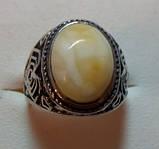 Кольцо с натуральным янтарем вес 7г размер 19, фото 2