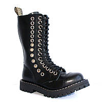 Высокие ботинки Steel черные с рядом больших люверсов 15 дырок 135 136 O  13741361e8da4