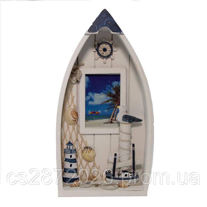 Рамка для фото настольная деревянная Лодка