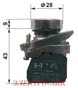 Выключатель ВК 011-НЦК, красный, потайной нажимной толкатель, 1NС