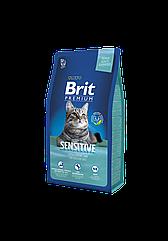 Сухой корм корм Brit Premium Sensitive для кошек с чувствительным пищеварением 8 кг