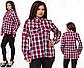 Женская стильная рубашка в клетку (черно-белый) 826890, фото 3