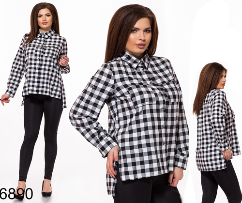 Женская стильная рубашка в клетку (черно-белый) 826890