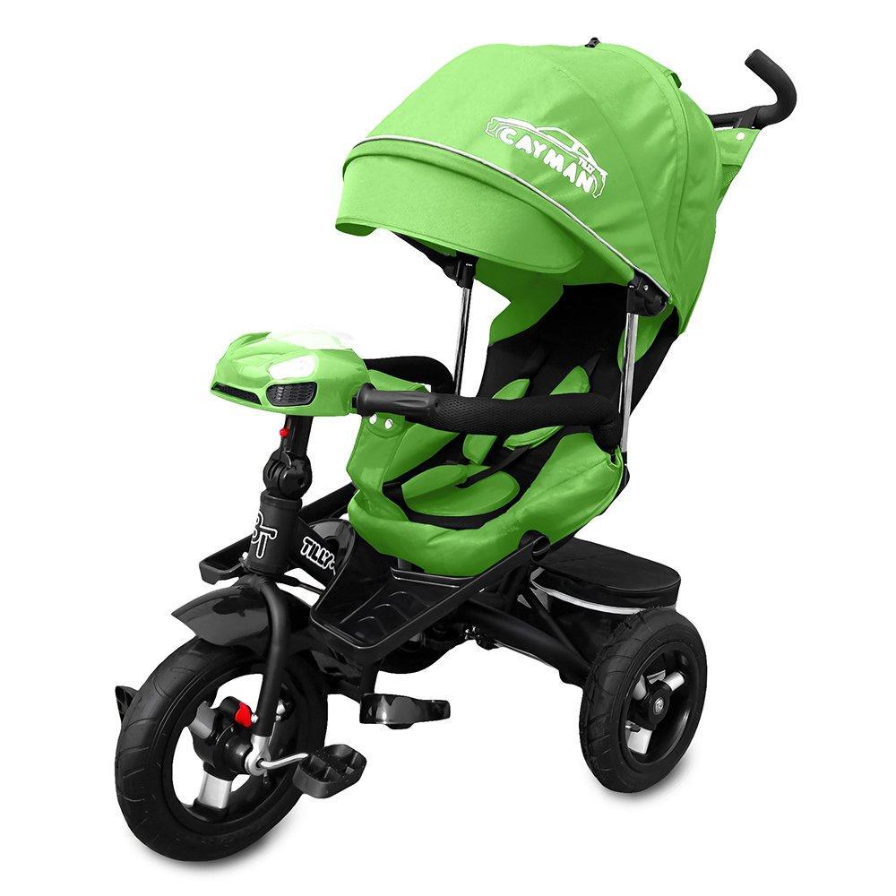 Трехколесный велосипед с Пультом управления и USB.Tilly Cayman T-381 зеленый, колеса надувные