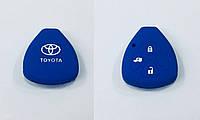 Силиконовый чехол на ключ Toyota 3 кнопки синий