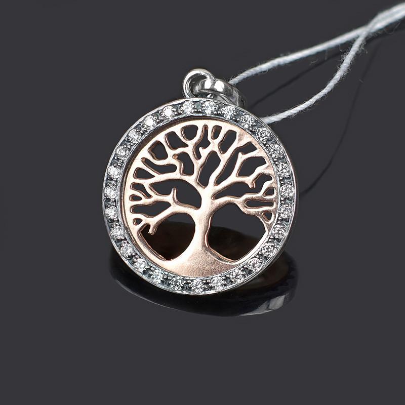 Серебряная подвеска Деревце с позолотой