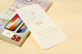 Защитное стекло 5D для iPhone Xs (White)