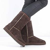 Замшевые темно-коричневые угги без каблука (зима) d809ff11adb1d