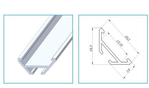 Алюмінієвий профіль ЛСУ-AL  для світлодіодних стрічок 7275