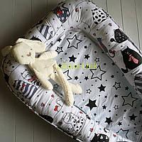 Гнездо-кокон для новорожденного 85Х40 см (подушка для беременной, подушка для кормления) Котики