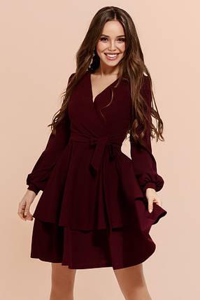 ed5a5f34528 Бордовое платье с двойной юбкой  Цена