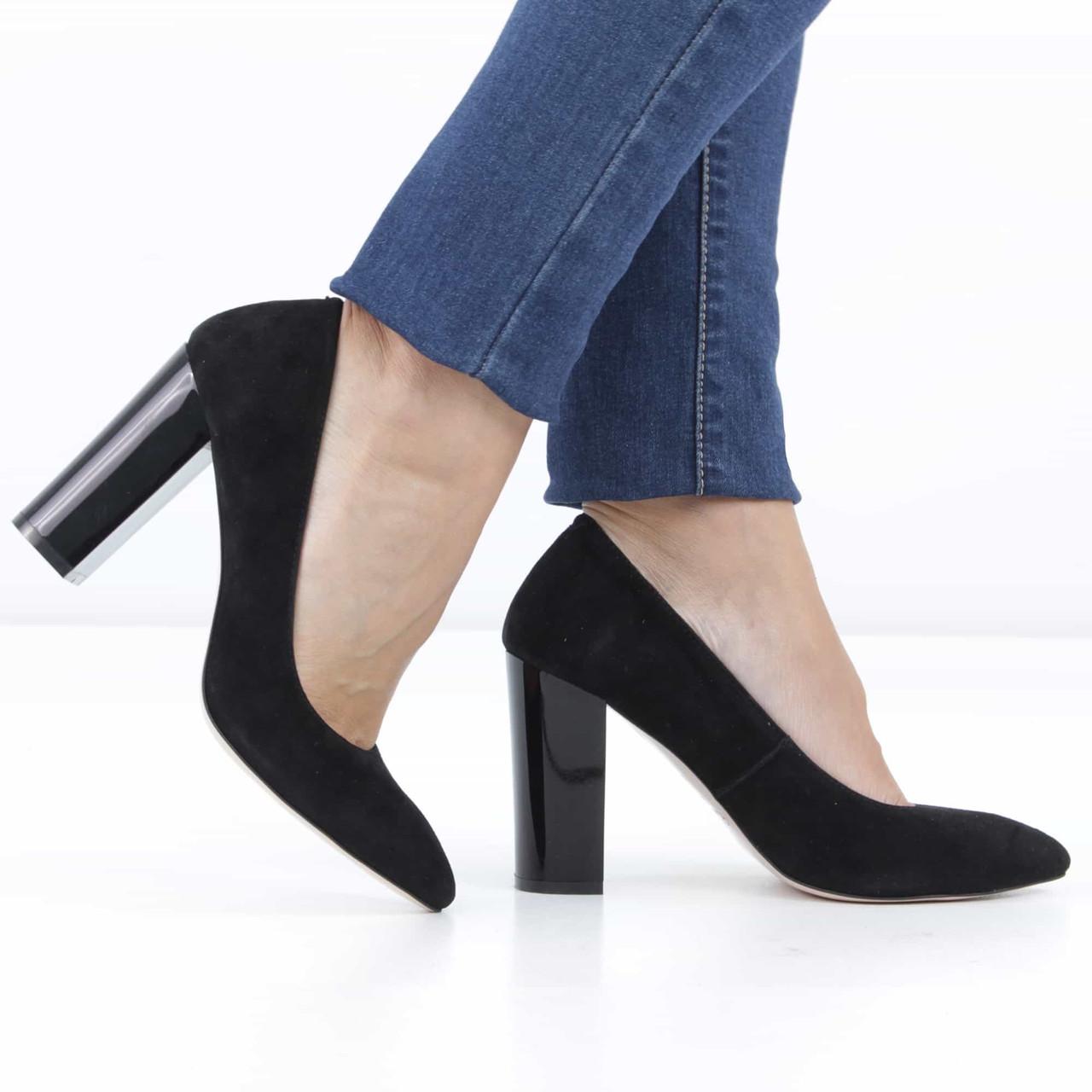 94d200cdd Замшевые черные туфли на прямом каблуке (весна-осень), 38 размер, код  UT75801