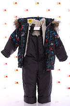 Утепленная осенняя  куртка  и штаны на лямках для мальчиков  86-92 рост